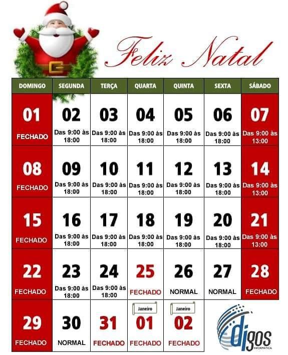 Horário de fim de ano